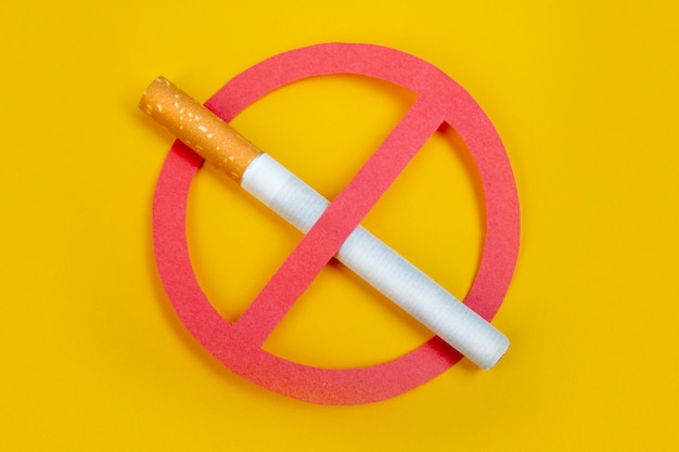 No smoke. no smoking. stop your badly health.  on yellow