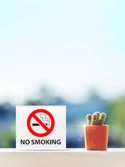 No smoking sign in hotel room with cactus on wood table.