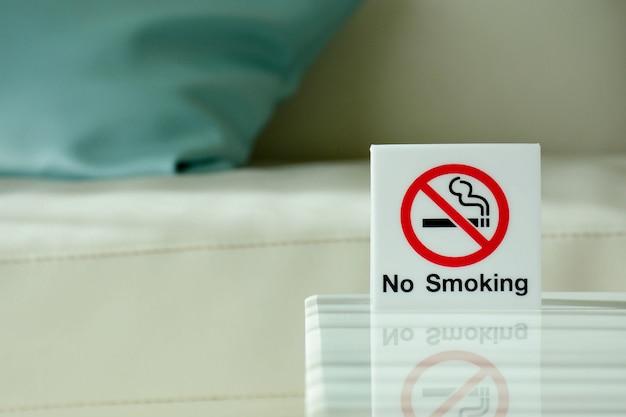 No smoking sign inside the room