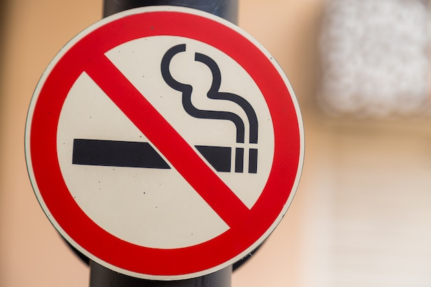 No smoking sign with bokeh background