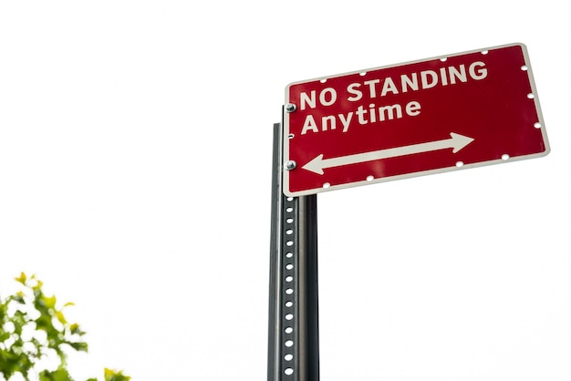 No standing street sign closeup