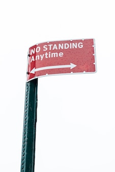 No standing warning sign closeup