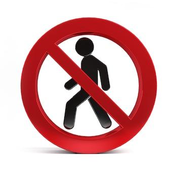 白い背景の3 dレンダリングに分離された歩行禁止標識。