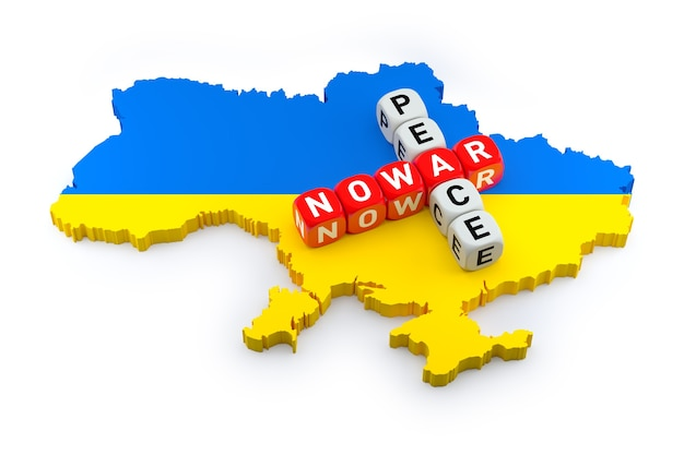 No to war, let peace win crossword puzzle on the map in ukraine flag colors. 3d rendering