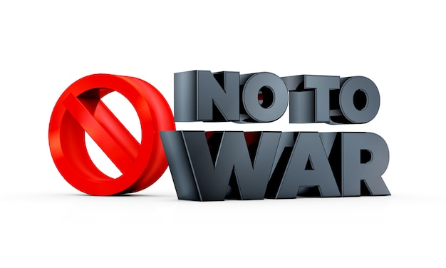 No to war sign isolated in white background 3d illustration rendering