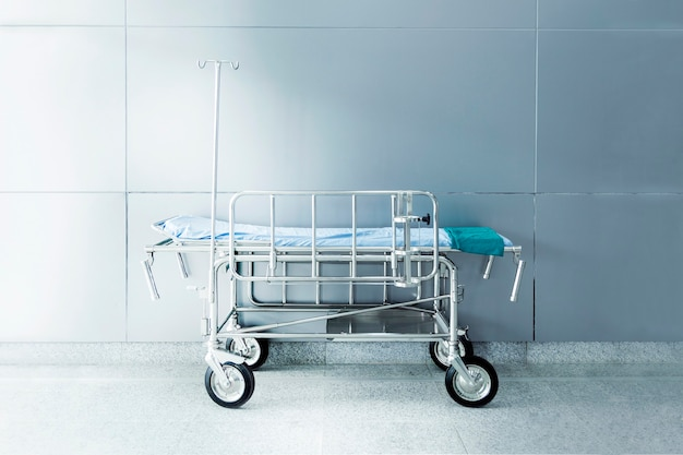 Nobody moving nurse bed prepare for patient in hospital building