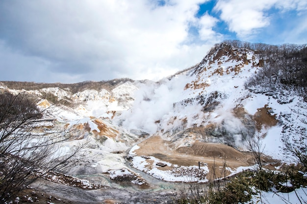 Noboribetsu jigokudani or hell valley in the winter, hokkaido, japan