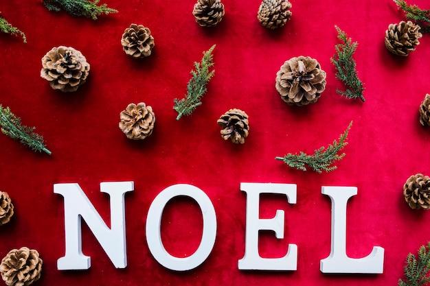 Titolo di noel vicino ai rami di arborvitae e agli strappi di conifere