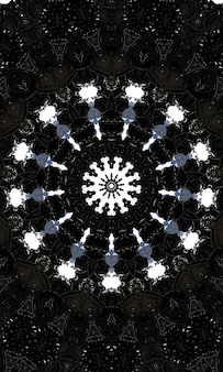 Noir kaleidoscope. black and white seamless pattern. can be used for coloring book page design,anti stress hobby for adult. noir theme, black and white illustration. vertical image.