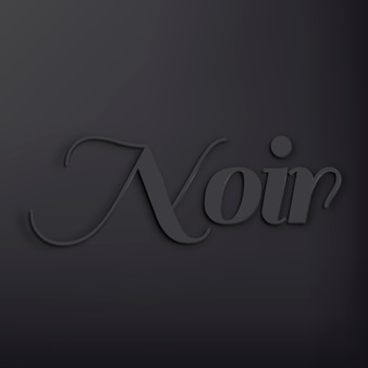 Noir word in black 3d text style