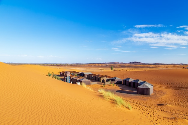 Nomad camp in the sahara desert.