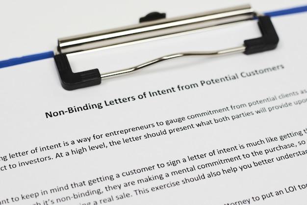 Необязательное письмо о намерениях от потенциальных клиентов