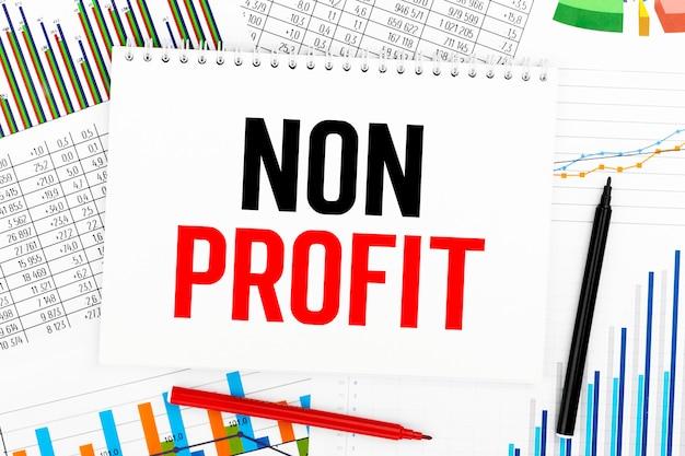 非営利。メモ帳、チャート。会計の概念。フラットレイ。