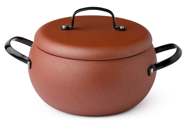 Non-stick casserole with lid isolated on white