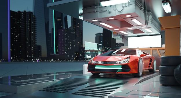 미래의 차고 3d 렌더링에서 존재하지 않는 브랜드 없는 일반 개념 빨간색 스포츠카
