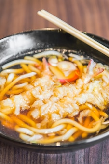 Noodle fried food up white