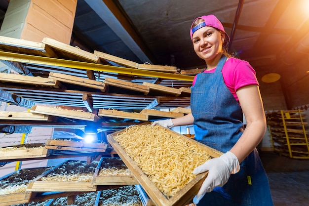 Производство лапши. ящики для отдыха макарон. завод технологического производства, промышленные работы. женщина с сырыми макаронами в руках.