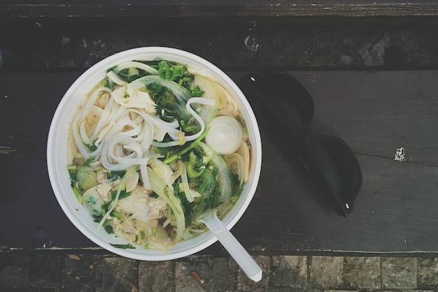 Noodle soup with bone broth