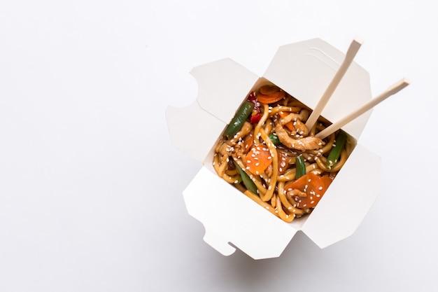 Noodle wok on white