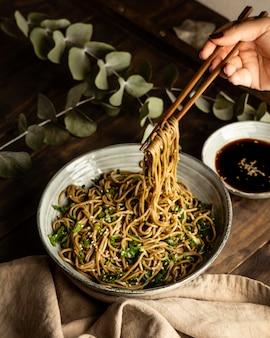 Noodles in a bowl composition