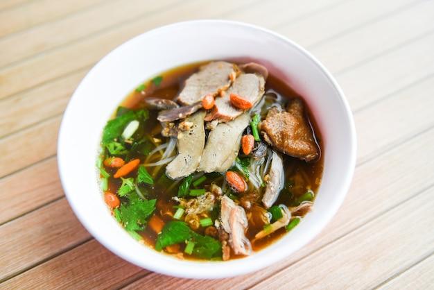 Noodles soup bowl asian food style. duck noodle soup in thailand