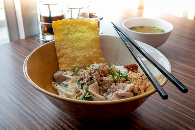 Noodles with boiled pork