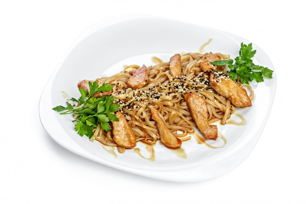 Noodles with chicken isolated