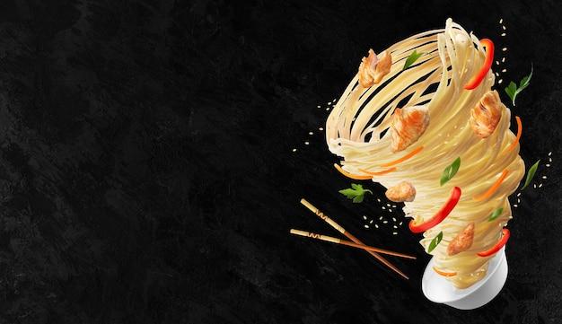 토네이도 형태의 야채와 닭고기를 곁들인 국수. 나무 막대기와 국수, 고추, 당근, 양파, 닭고기 한 그릇. 공간을 복사하십시오.