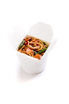 Noodles with vegetables in box