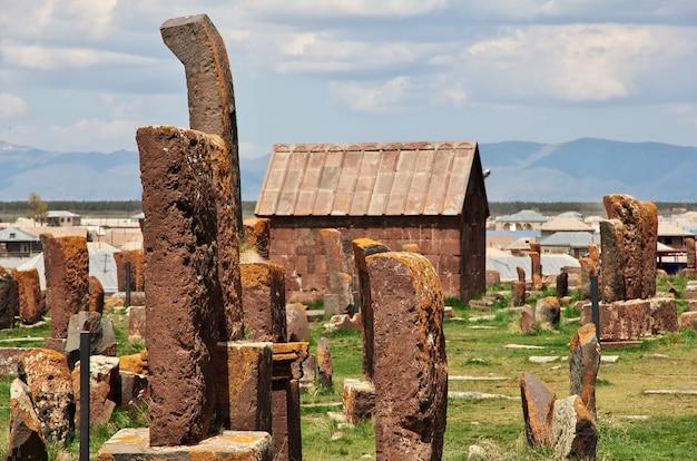 Noratus cemetery on sevan lake, armenia