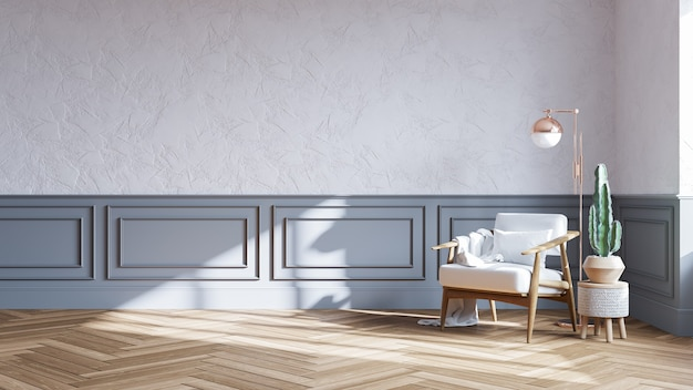 Nordic style interior design, wood chair on white wall with parque wood flooring