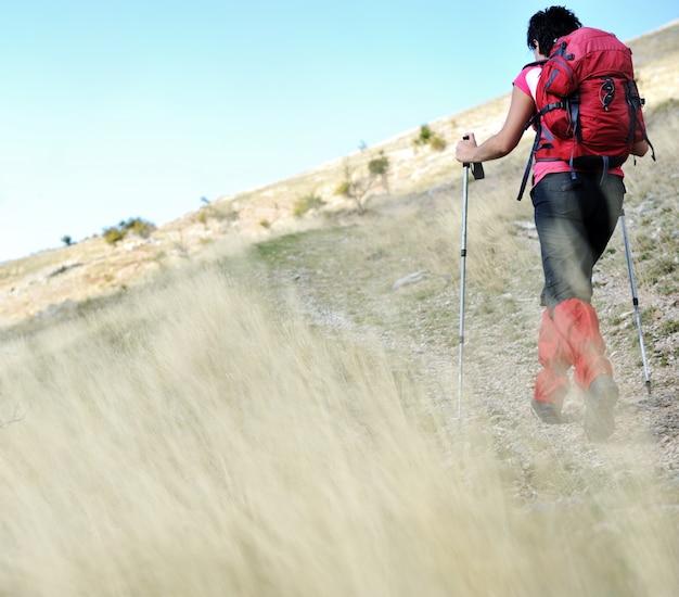 Nordic walking at mountains, hiking woman in grass