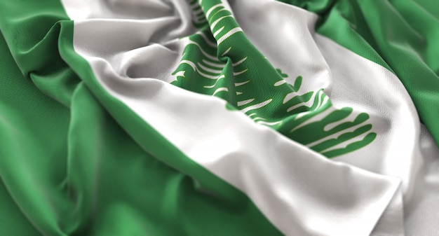 Norfolk island flag ruffled beautifully waving macro close-up shot