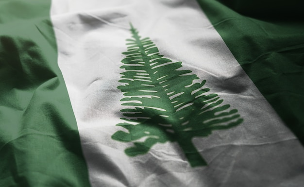 Norfolk island flag rumpled close up