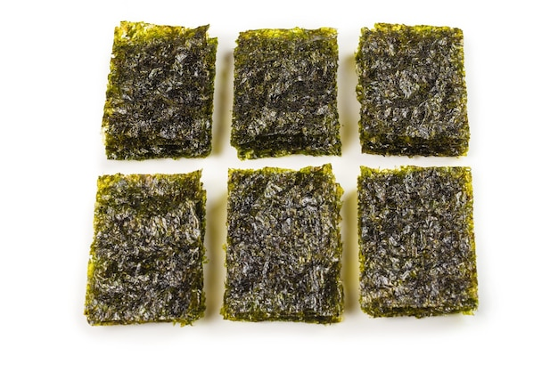 Nori seaweed isolated on white. top view