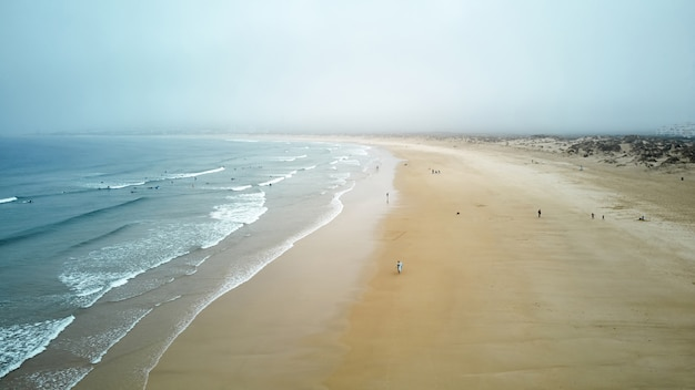 North beach and ocean in nazare portugal