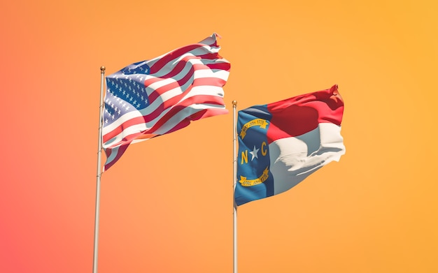 North carolina us state flags at gradient sky