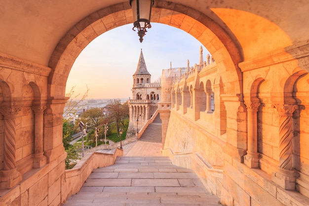 The north gate of the fisherman's bastion in budapest, hungary at morning time.