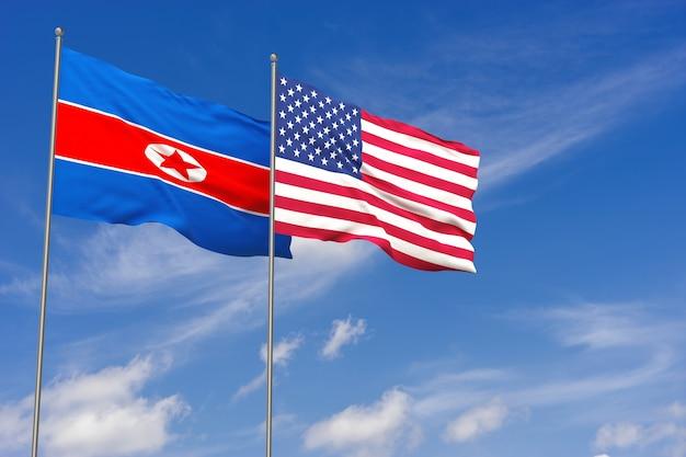 푸른 하늘 배경 위에 북한과 미국 국기. 3d 일러스트레이션