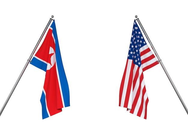 북한 국기와 미국 국기