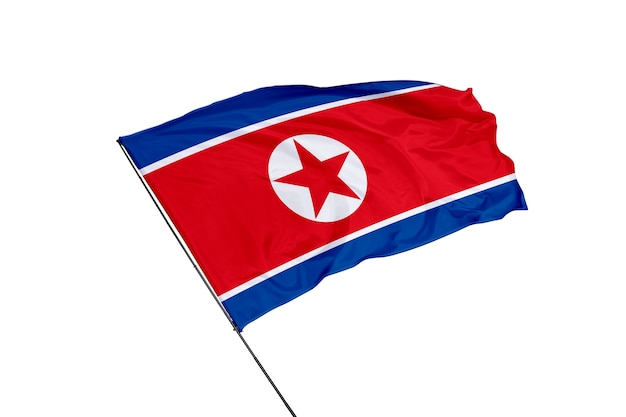 Флаг северной кореи на белом фоне
