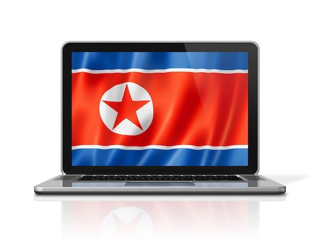 白で隔離のノートパソコンの画面上の北朝鮮の旗。 3dイラストのレンダリング。