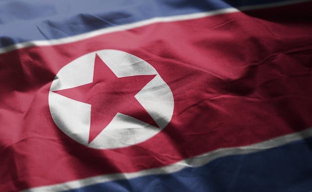 North korea flag rumpled close up