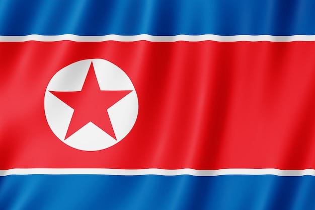 바람에 펄럭이는 북한 국기.