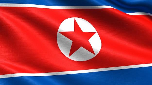 North korea flag, with waving fabric texture