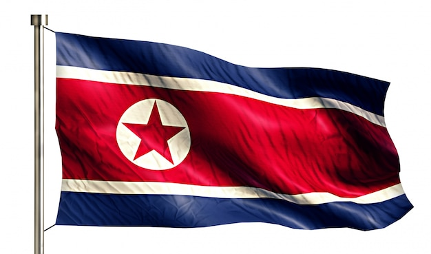 North korea national flag isolated 3d white background