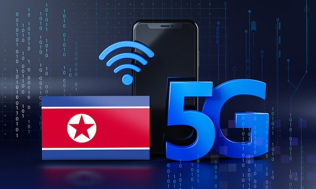 North korea ready for 5g connection concept. 3d rendering smartphone technology background