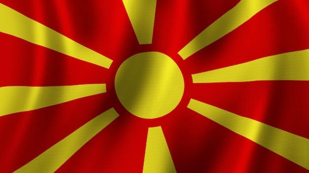 패브릭 질감과 고품질 이미지로 근접 촬영 3d 렌더링을 흔들며 북마케도니아 국기