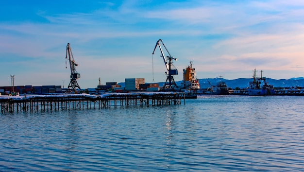 The north port on a clear winter day. selective focus. petropavlovsk-kamchatsky city, kamchatka, russia