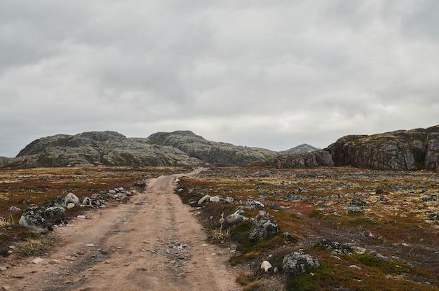 曇りの日にカラフルな秋のツンドラの木と茂みの丘の中で北部の田舎道。テリベルカへの旅。コラ半島、ロシアのムルマンスク地域。